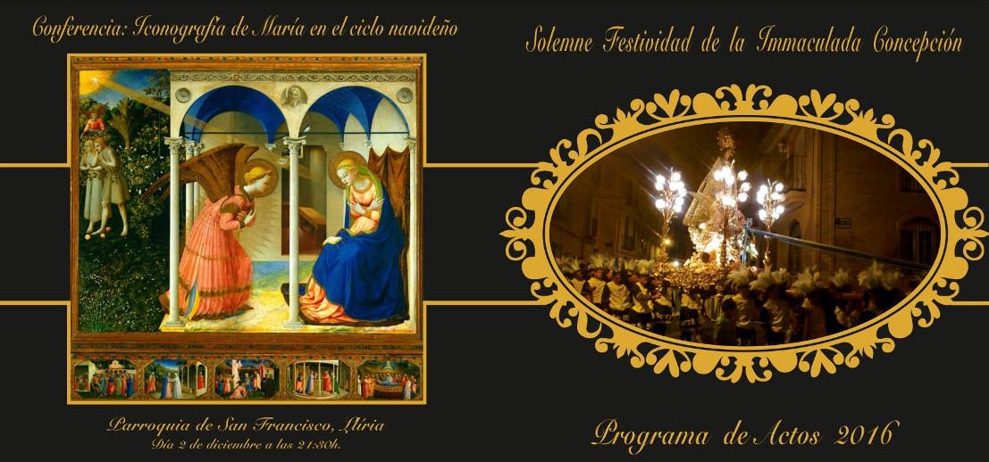Fulla 1 del Programa d'Actes de la Arxiconfraria Cort de María de Llíria en honor a la Puríssima