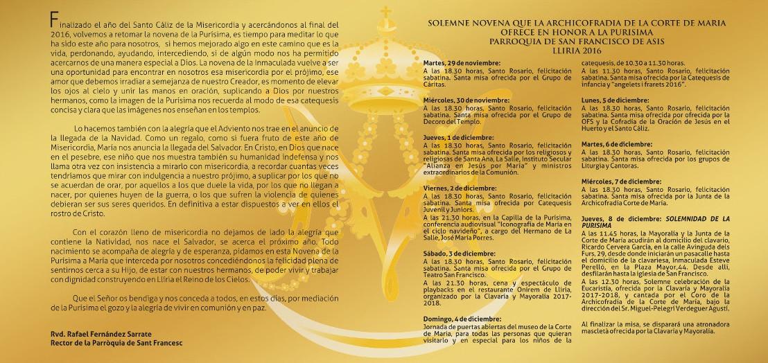 Fulla 2 del Programa d'Actes de la Arxiconfraria Cort de María de Llíria en honor a la Puríssima